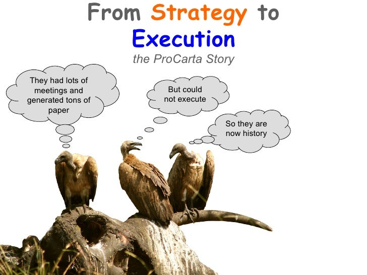 So they are now history They had lots of meetings and generated tons of paper But could not execute From  Strategy  to  Ex...