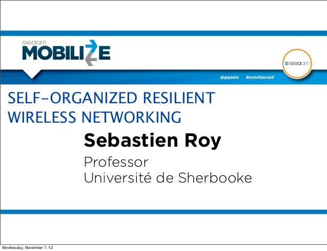 SELF ORGANIZED RESILIENT WIRELESS NETWORKING from Mobilize 2012