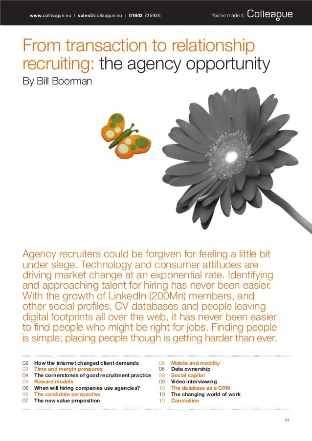 'From Transaction to Relationship Recruiting - The Agency Opportunity' - by @BillBoorman