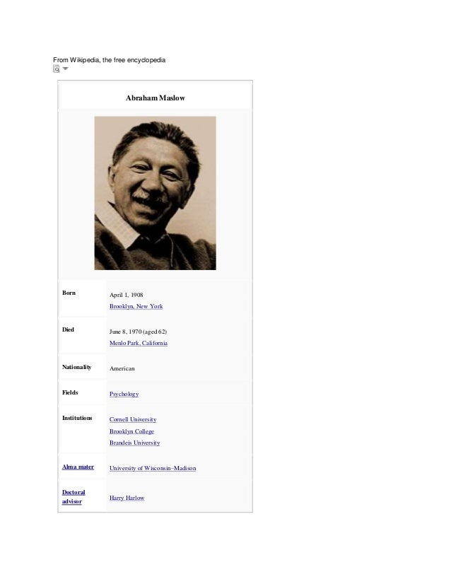 From Wikipedia, the free encyclopedia  Abraham Maslow  Born  April 1, 1908 Brooklyn, New York  Died  June 8, 1970 (aged 62...