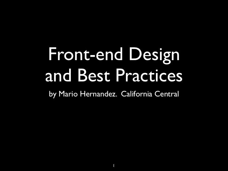 Front end-design and best practices