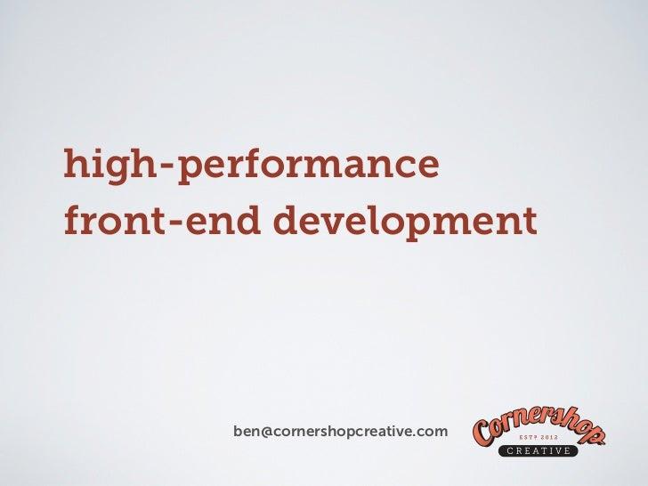High Performance Front-End Development