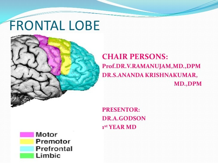 FRONTAL LOBE<br />CHAIR PERSONS:<br />Prof.DR.V.RAMANUJAM,MD.,DPM<br />DR.S.ANANDA KRISHNAKUMAR,<br />                    ...