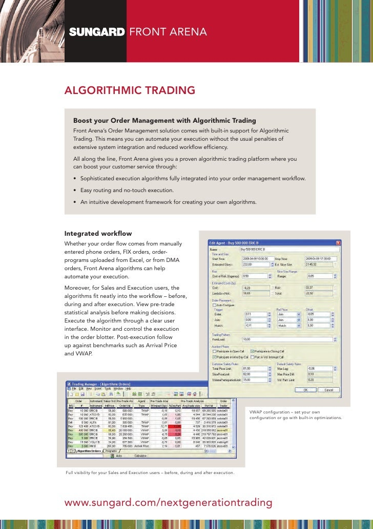 FRONT ARENAAlgorithmic trAding   Boost your Order Management with Algorithmic Trading   Front Arena's Order Management sol...