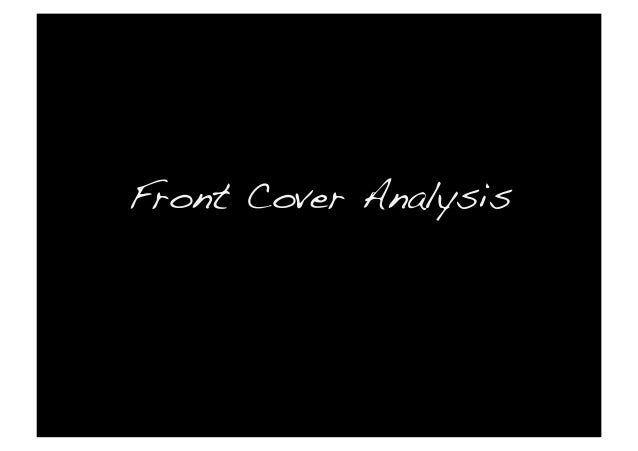 Front Cover Analysis!