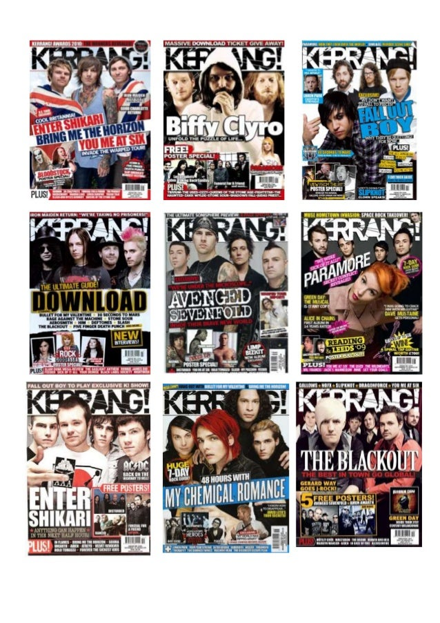 Front Cover OverviewThe front covers which I chose to look at are all from the front cover of 'Kerrang!' magazine, thismea...