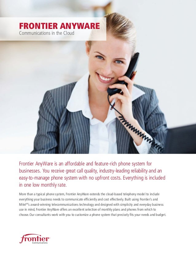 Frontier AnyWare is an affordable and feature-rich phone system for businesses. You receive great call quality, industry-l...