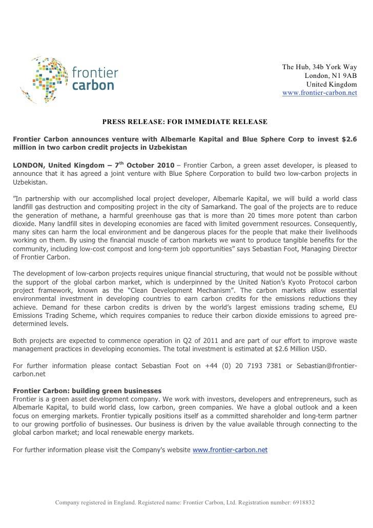 Frontier Carbon - Press Release