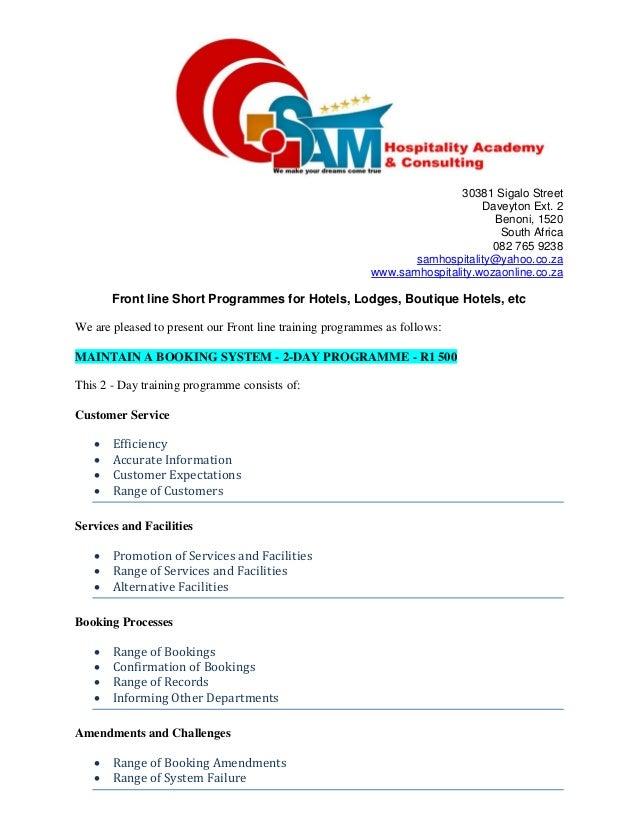 Front line training programmes   sam hospitality academy