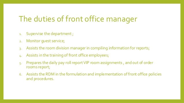 Front office department design by austin - Duties of an office manager ...