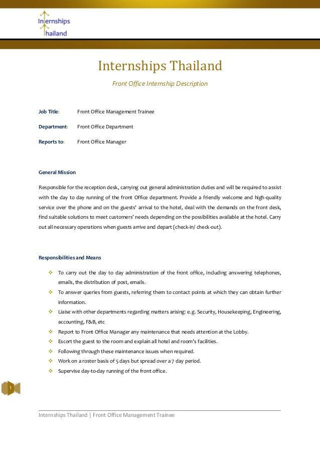 Internships Thailand | Front Office Management Trainee1Internships ThailandFront Office Internship DescriptionJob Title: F...
