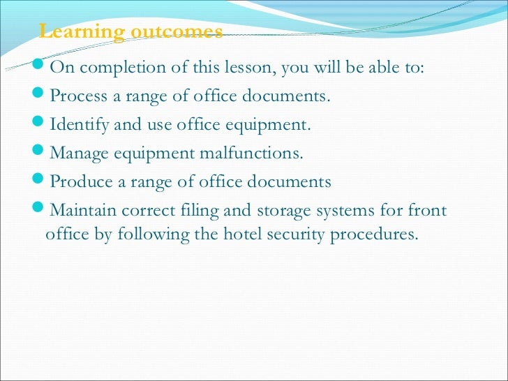 front office procedures The front office duties policy procedure thoroughly describes the tasks involved in the effective operation of front office duties.