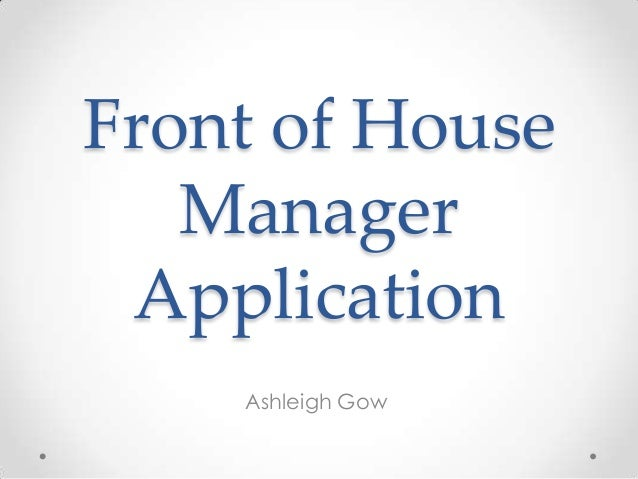 Front of house manager application