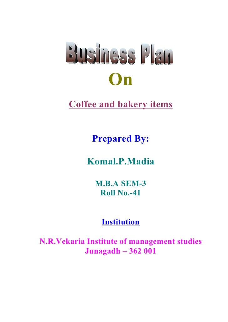 Cover page for a business plan
