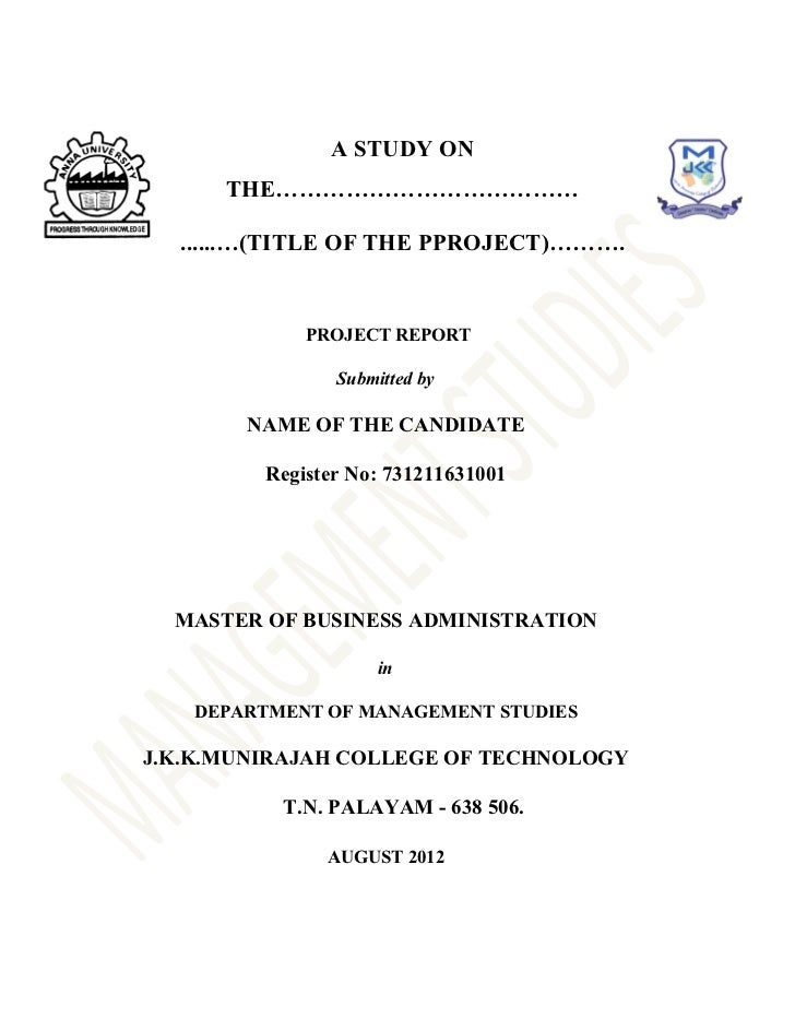 Front Page For Assignment