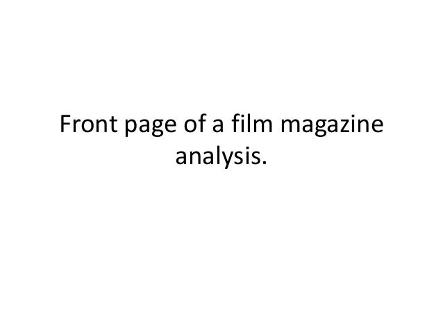 Front page of a film magazine analysis.
