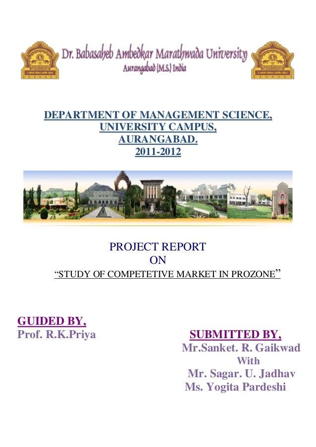DEPARTMENT OF MANAGEMENT SCIENCE,            UNIVERSITY CAMPUS,               AURANGABAD.                  2011-2012      ...