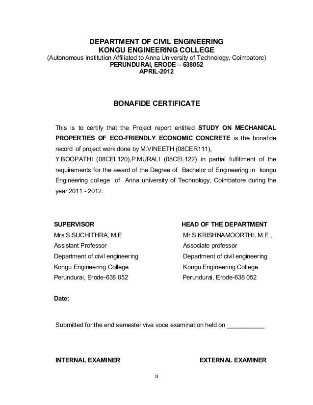ii DEPARTMENT OF CIVIL ENGINEERING KONGU ENGINEERING COLLEGE (Autonomous Institution Affiliated to Anna University of Tech...