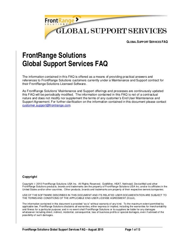 Front range solutions support services general faq aug 2010 legal approved