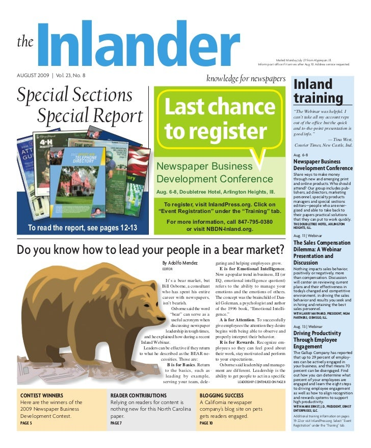 the          InlanderAUGUST 2009 | Vol. 23, No. 8                                                                         ...