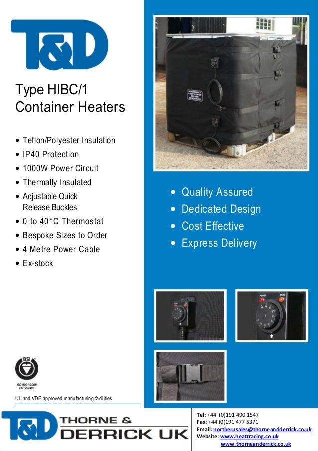 Frost Protection IBC Heating Jacket - HIBC/1 Heater Jacket - Brochure