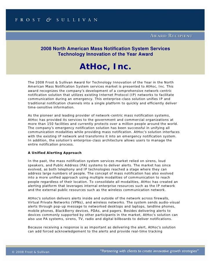 2008 Frost & Sullivan Award Recipient: AtHoc Mass Notifications