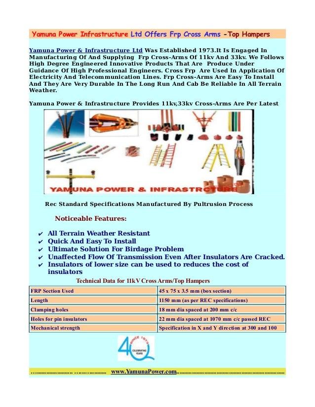 Yamuna Power Infrastructure Ltd Offers Frp Cross Arms -Top Hampers Yamuna Power & Infrastructure Ltd Was Established 1973....