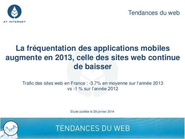 Tendances du web  La fréquentation des applications mobiles augmente en 2013, celle des sites web continue de baisser Traf...