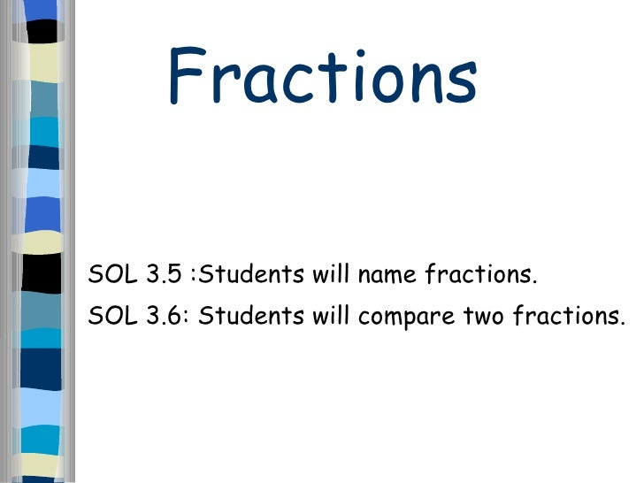 Fractions SOL 3.5 :Students will name fractions. SOL 3.6: Students will compare two fractions.