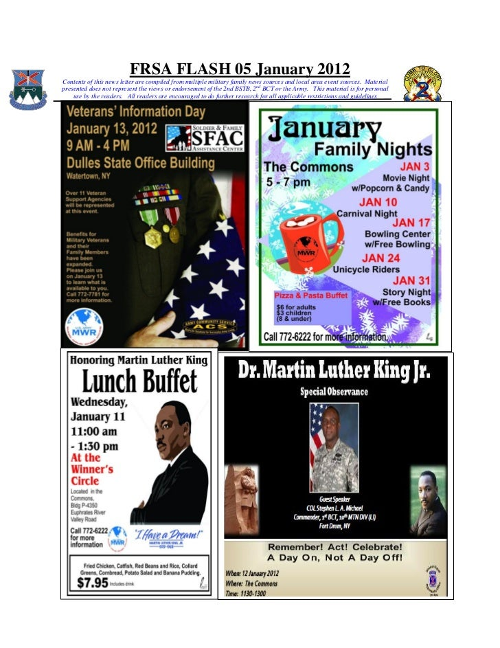 FRSA FLASH 05 January 2012Contents of this news letter are compiled from multiple military family news sources and local a...