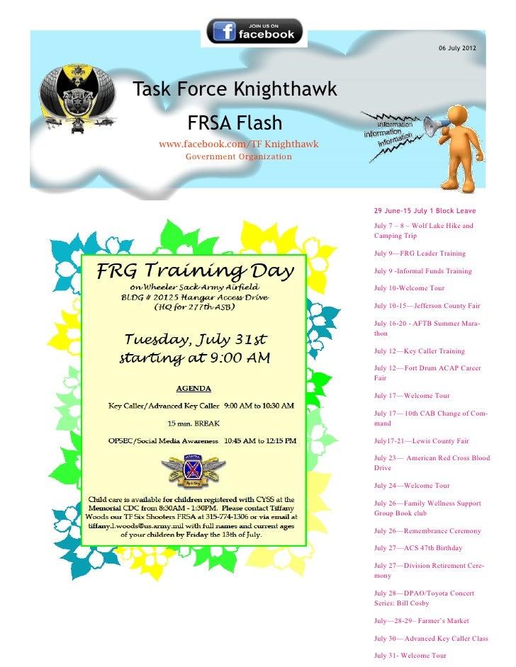 06 July 2012Task Force Knighthawk       FRSA Flash  www.facebook.com/TF Knighthawk      Government Organization           ...