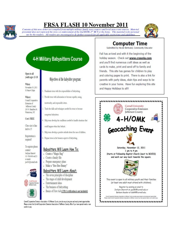 FRSA FLASH 10 November 2011Contents of this news letter are compiled from multiple military family news sources and local ...