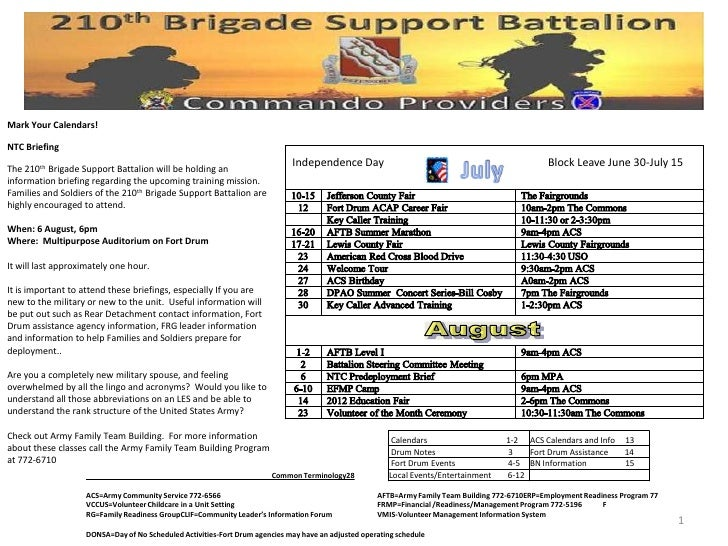 Mark Your Calendars!NTC BriefingThe 210th Brigade Support Battalion will be holding an                                    ...