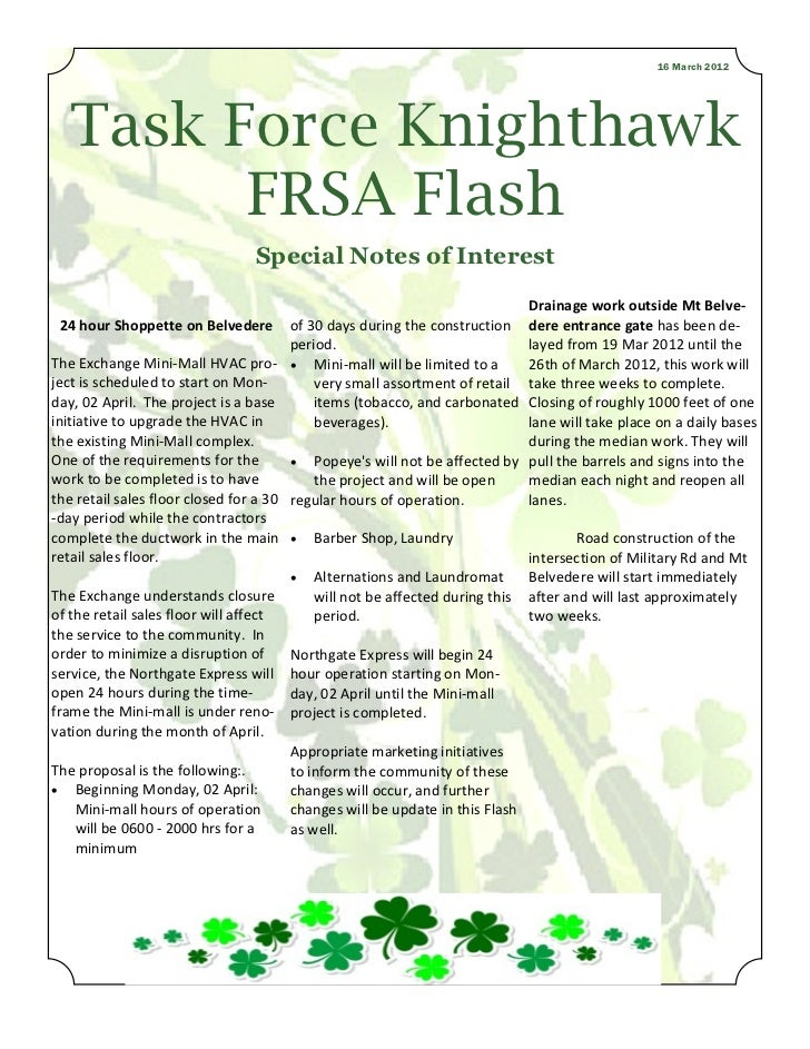 16 March 2012  Task Force Knighthawk        FRSA Flash                                Special Notes of Interest           ...