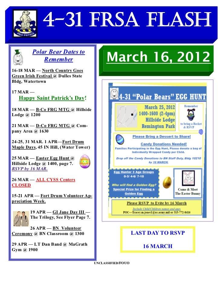 4-31 FRSA Flash          Polar Bear Dates to              Remember                         March 16, 201216-18 MAR — North...
