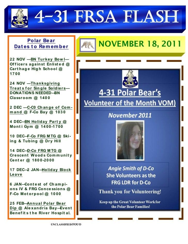 FRSA Flash for Week Ending 18 NOV 2011