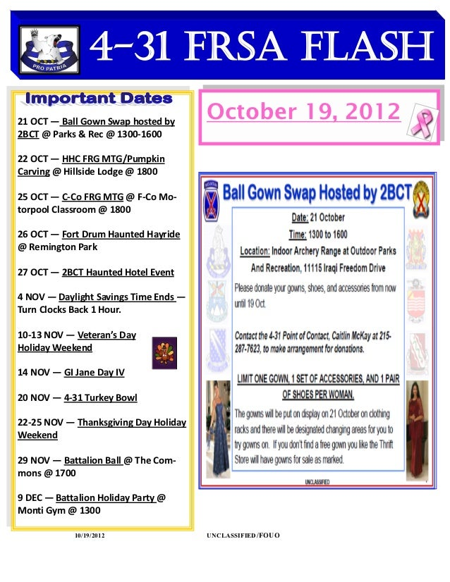 4-31 FRSA Flash    DATES TO REMEMBER21 OCT — Ball Gown Swap hosted by                                       October 19, 20...