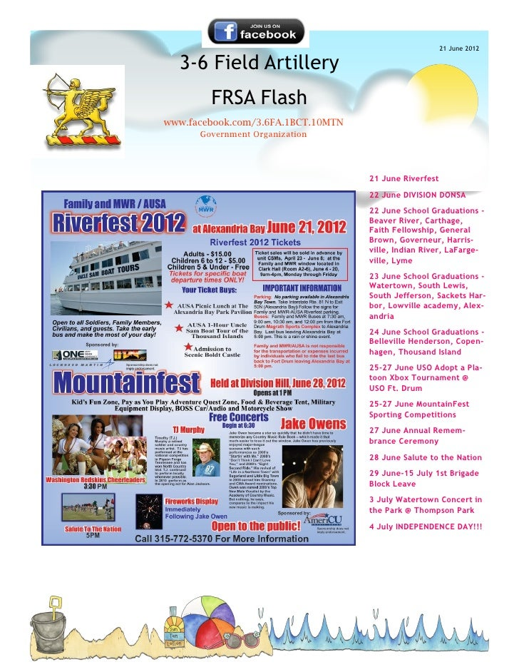 21 June 2012  3-6 Field Artillery        FRSA Flashwww.facebook.com/3.6FA.1BCT.10MTN      Government Organization         ...