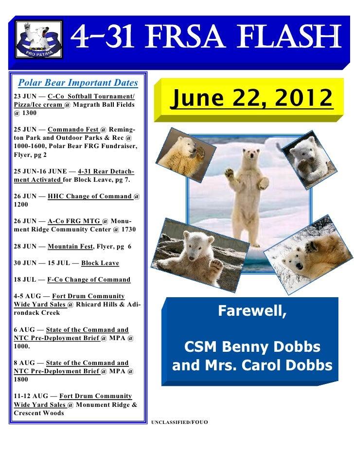4-31 FRSA Flash Polar Bear Important Dates23 JUN — C-Co Softball Tournament/Pizza/Ice cream @ Magrath Ball Fields@ 1300   ...