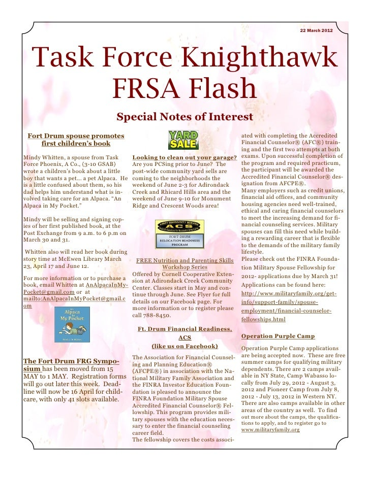 22 March 2012   Task Force Knighthawk         FRSA Flash                                   Special Notes of Interest Fort ...