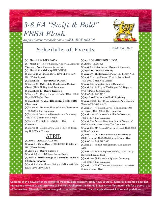 "3-6 FA ""Swift & Bold"" FRSA Flash https://www.facebook.com/3.6FA.1BCT.10MTN Sc h e du l e o f E v en t s March 22 - 3-6FA..."
