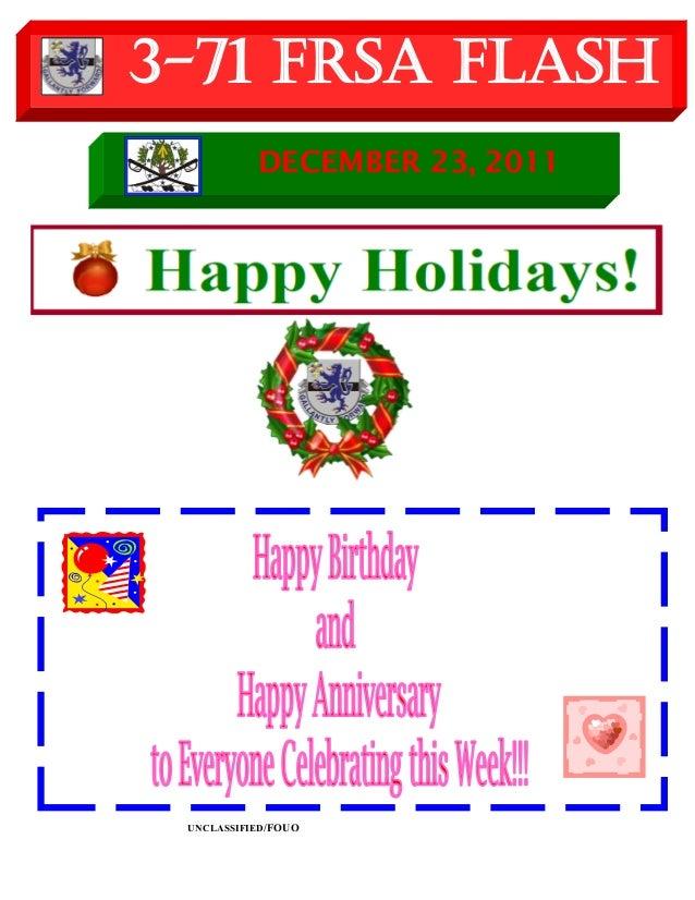 UNCLASSIFIED/FOUO 3-71 FRSA Flash DECEMBER 23, 2011