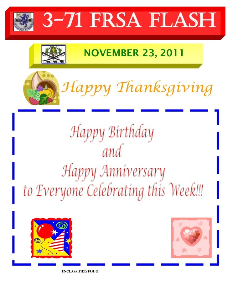 3-71 FRSA Flash           NOVEMBER 23, 2011 Happy Thanksgiving UNCLASSIFIED/FOUO