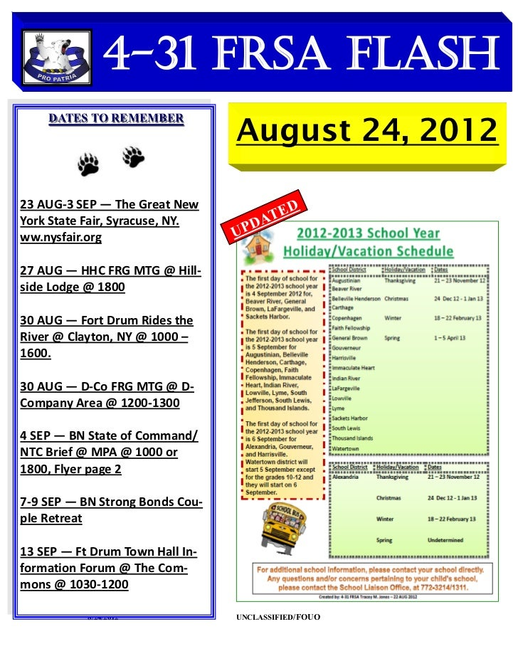 4-31 FRSA Flash                                 August 24, 2012    DATES TO REMEMBER23 AUG-3 SEP — The Great New          ...