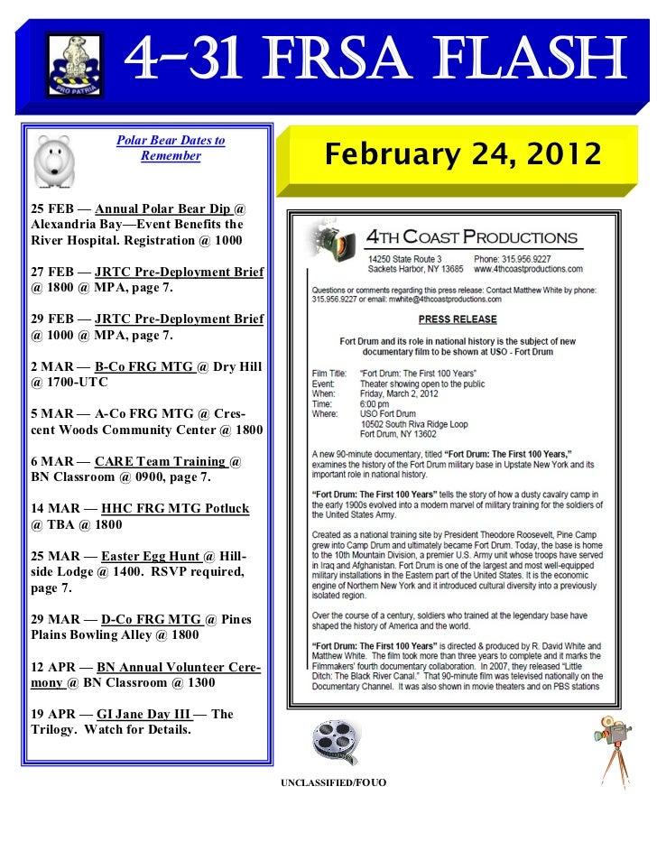 FRSA Flash for Week Ending 24 FEB 2012