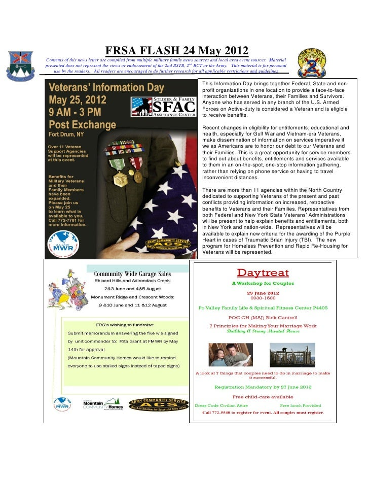 FRSA FLASH 24 May 2012Contents of this news letter are compiled from multiple military family news sources and local area ...
