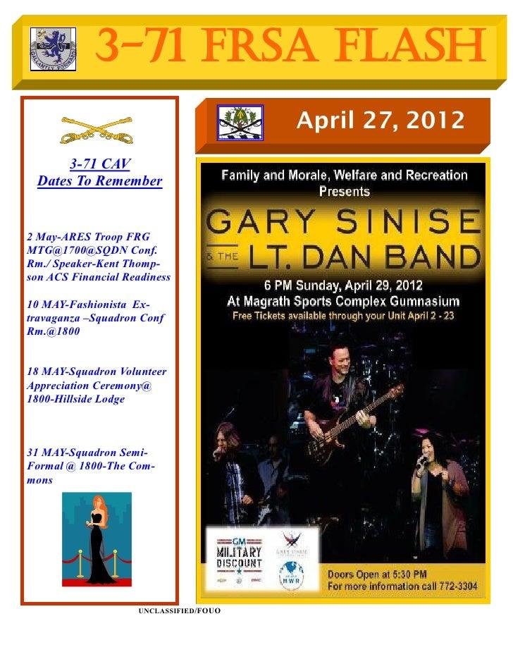 3-71 FRSA Flash                                        April 27, 2012      3-71 CAV Dates To Remember2 May-ARES Troop FRGM...