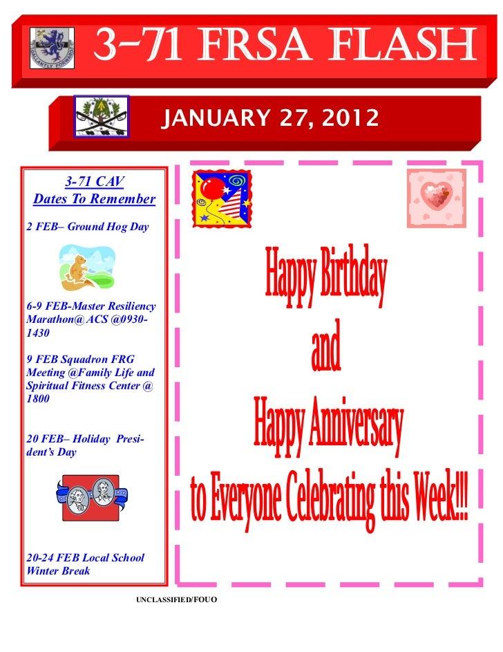 3-71 FRSA Flash                             JANUARY 27, 2012      3-71 CAV Dates To Remember2 FEB– Ground Hog Day6-9 FEB-M...