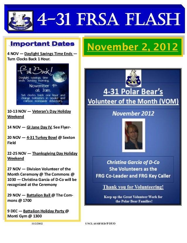 4-31 FRSA Flash    DATES TO REMEMBER4 NOV — Daylight Savings Time Ends —                                           Novembe...