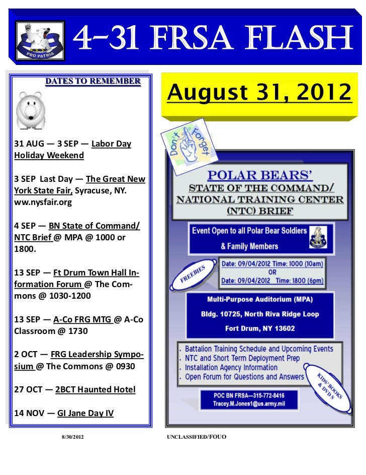 4-31 FRSA Flash       DATES TO REMEMBER                                 August 31, 201231 AUG — 3 SEP — Labor DayHoliday W...